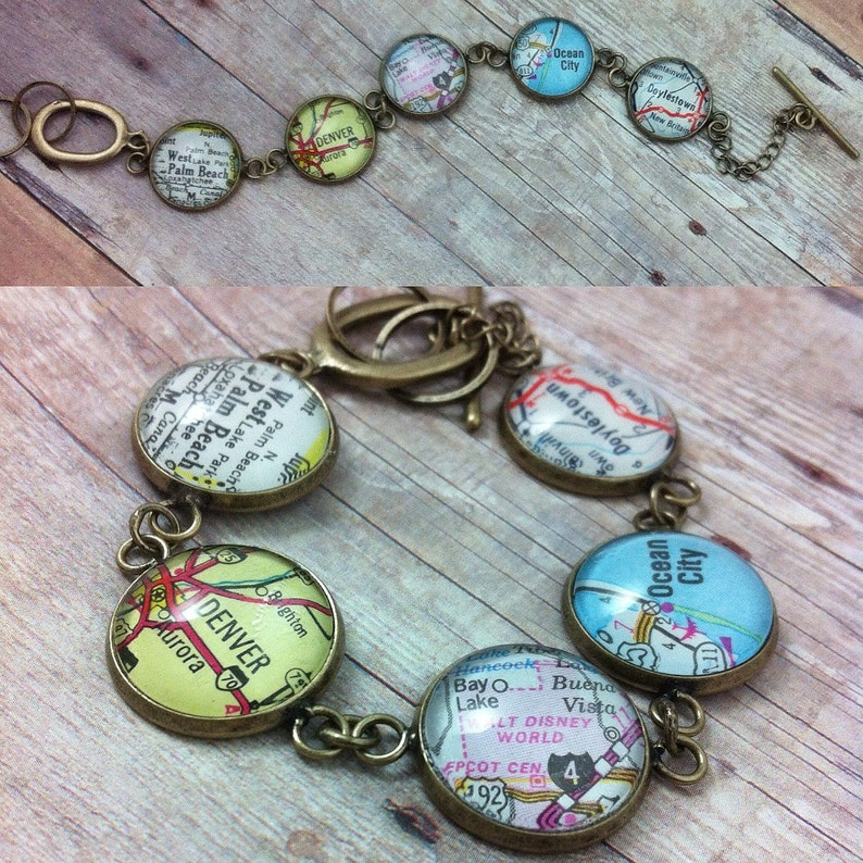 CUSTOM Map Bracelet: Personalized with 5 Vintage Map Locations image 0