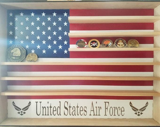 Large Hanging Wood Military Coin Holder, Engraved military coin holder, coin holder shelf, collectables shelf, American Flag display, Poker