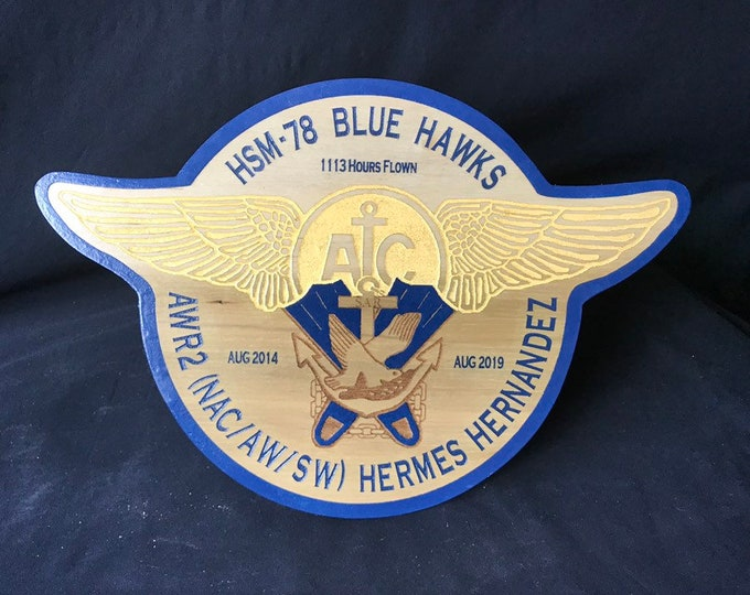 Wooden Military Gift Aircrew Plaque Navy Search and Rescue Military Transfer Gift