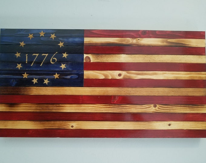 Wooden Betsy Ross American Flag Wall Art Heritage