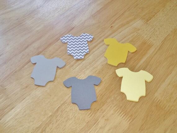 773faca18 Baby Shower Die Cut Paper Onesie One Piece Romper Grey Chevron