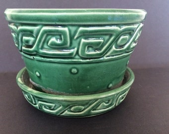 Vintage McCoy Green Greek Key and Hobnail Planter