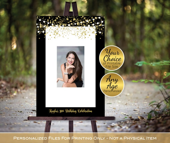 Birthday Guestbook Signature Photo Frame for Signing Personalized Garland Lights and Gold Confetti DIGITAL PRINTABLE FILES Printable