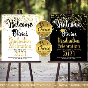welcome to the graduation party sign custom welcome sign orange black graduation party decor welcome to graduation party sign custom
