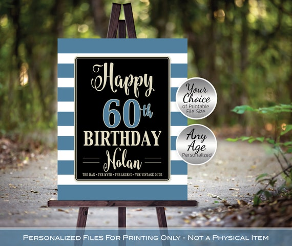 Man/'s 40th 50th 60th or Any Age Birthday Party Sign Printable Files The Man The Myth The Legend Personalized DIGITAL PRINTABLE FILES