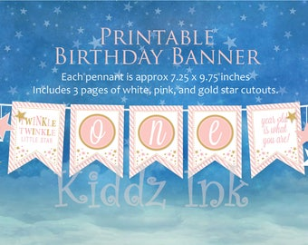 """Twinkle Twinkle """"ONE"""" 1st Birthday Banner 