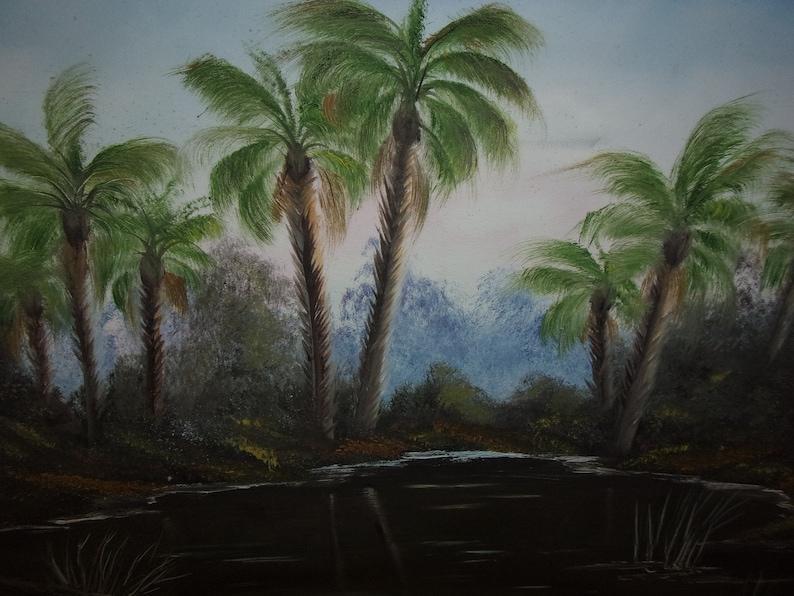 Original oil painting signed Tropical scene