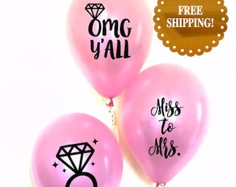 Bridal Shower Balloons. Bridal Shower Decorations. miss to mrs balloons. Bridal Shower decor. bachelorette party decorations. Party balloons