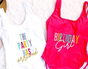 7b63ff749f562 Birthday Girl Suit. Birthday Suit. Birthday Swim. Birthday Bathing Suit.  Birthday Backless Swim. Birthday One Piece Swim. Girl Swimsuit.