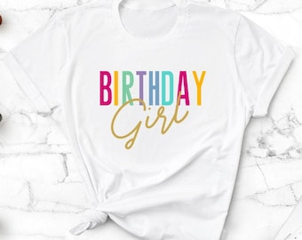 personalised embroidered tshirt rainbow sizes 0 to 12 Girls birthday tshirt