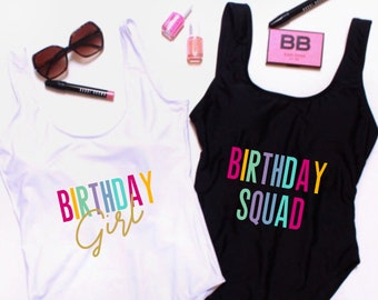 0f0b01f698860 Birthday Squad Suit. Birthday Suit. Birthday Swim. Birthday Bathing Suit.  Birthday Backless Swim. Birthday One Piece Swim. Squad Swimsuit.