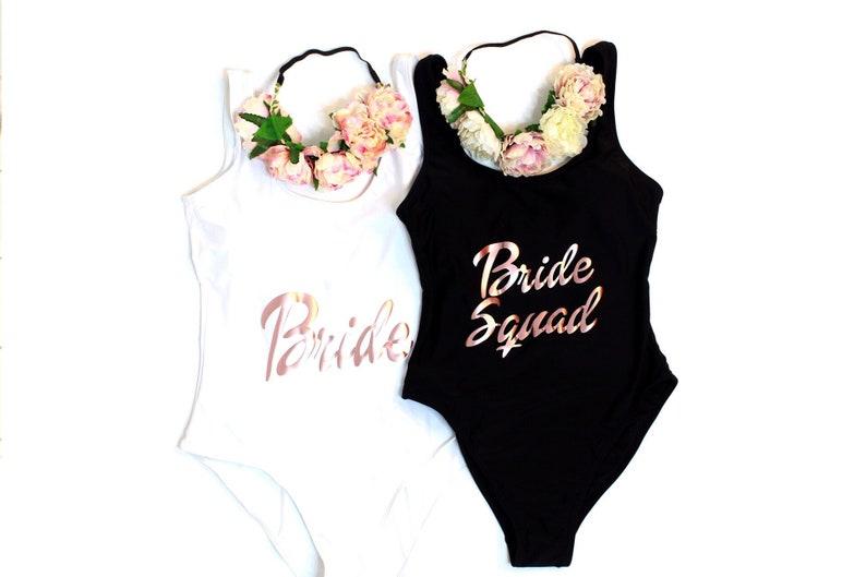 35c53c7e784cf Bride Squad Swimsuit. Bride Squad Bathing Suit. Bachelorette | Etsy
