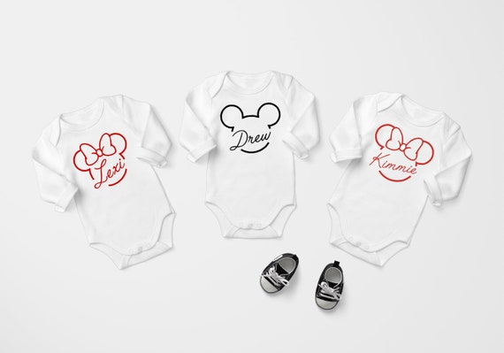 Personalized Disney Onesie Personalized Baby Onesie Disney Baby Clothes Disney Baby Onesie Minnie Mouse Onesie Long Sleeve Onesie
