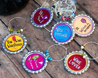 Bachelorette, wine charms, foodie, unique wine gifts, wine glass, funny birthday gift, housewarming gift, ladies night out