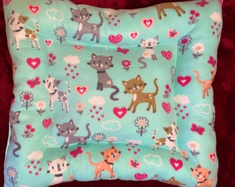 Cats and Hearts Plush Fleece Cat Bed, Handmade Medium Cat Pet Bed/Mat Pad Fleece 24x26 Cats or Kittens Dogs, Machine Washable
