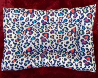 Leopard Rainbow Plush Fleece Cat Pet Bed, Handmade Small Cats Cat Pet Bed/Mat Pad Rectangle 17x25 Cats or Kittens Dogs Pets