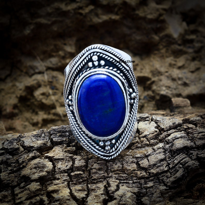 Promise Ring Worry Ring Blue Stone Ring 925 Sterling Silver Ring Wide Ring Gift For Her Lapis Lazuli Ring Handmade Ring