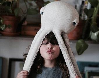 Small Albino Octopus - Handmade Plush toy