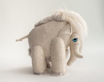 Small Albino Mammoth - Handmade Stuffed Animal