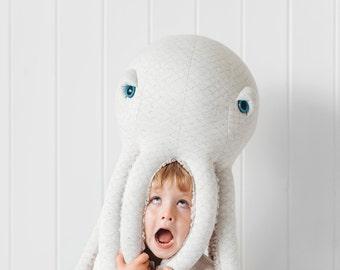 Big Albino Octopus - Handmade Plush toy