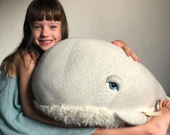 XXL Albino Bubble whale - Handmade plush toy