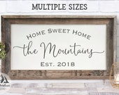 Home Sweet Home Sign, Personalized Wood Sign, Farmhouse Sign, Housewarming Gift, Wedding Gift, 5th Anniversary Gift, Established Sign Family