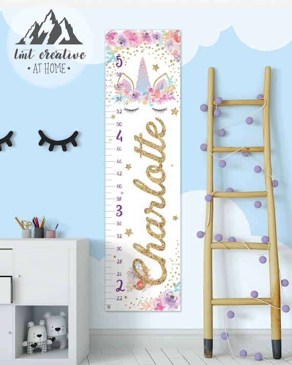 Unicorn Growth Chart Personalized Growth Chart Personalized Etsy