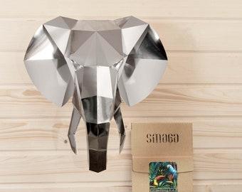 DIY KIT Elephant papercraft 3d wall art, paper trophy, bedroom decor mirror wall, faux taxidermy, safari birthday, animal paper decor