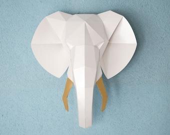 Papercraft 3d, Digital download, Nursery decor Elephant, 3d wall art, baby shower gift, elephant baby shower, faux taxidermy animal head