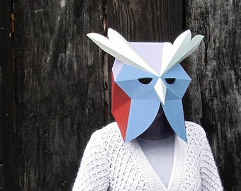 Owl costume instant download masquerade mask, Bird mask eco friendly papercraft 3d, low poly animal mask, full face mask, papercraft mask.