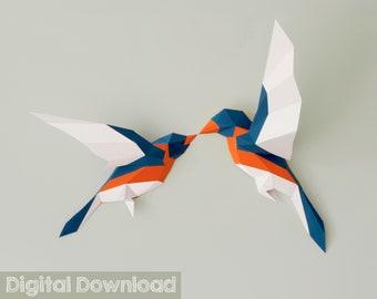 Birds Papercraft 3d PDF Pattern, Paper Sculpture, Boho Decor.