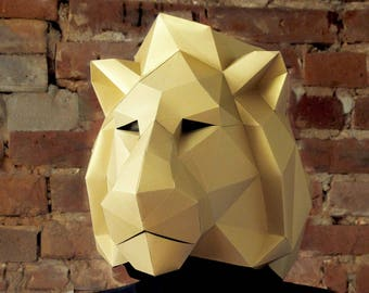 Lion Mask Paper Animal King PDF Papercraft Face Festival Carnival