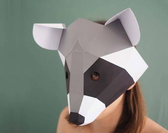 Raccoon Papercraft Mask Digital Download Woodland Animals Low Poly Masquerade Party Face Printables Animal Kids