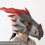 Dragon mask, Instant download. Halloween mask, Papercraft 3d. Fantasy creature.