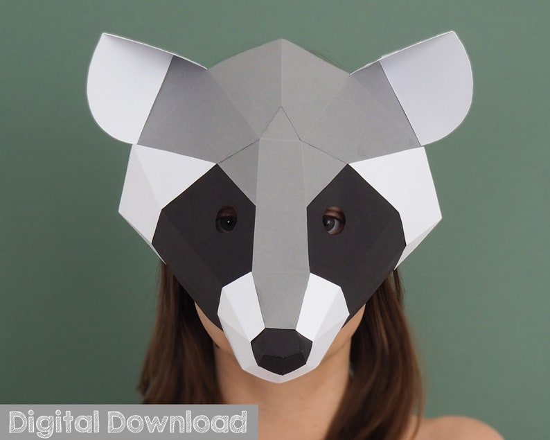 Raccoon mask, papercraft mask, Halloween mask  Paper mask, Instant  download, masquerade mask