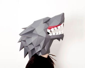 Wolf mask Digital download Masquerade mask Game of thrones Animal head Printable 3d papercraft Paper mask Stark wolf Beast mask Dire wolf