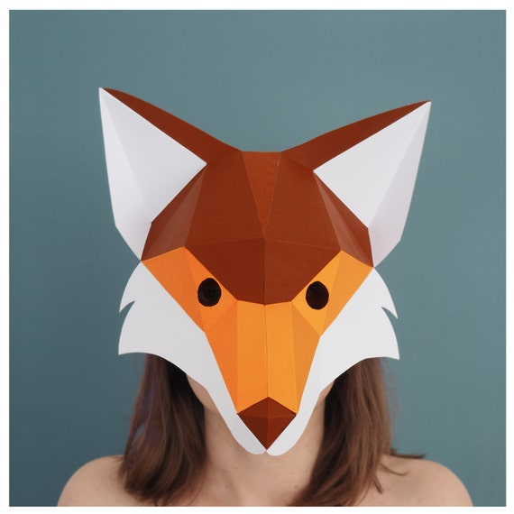 Fox mask Digital Download Masquerade mask Papercraft 3d Low