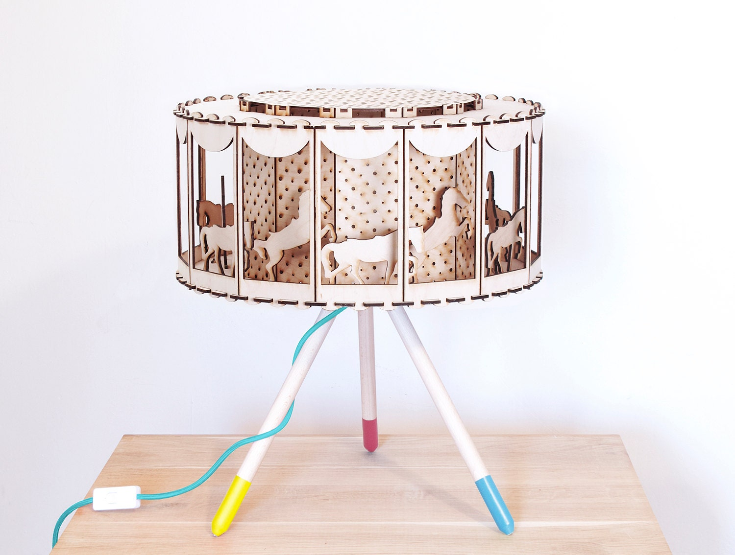 Carousel lampshade carousel horse wood lamp nursery decor for How To Make A Spinning Lamp  lp00lyp
