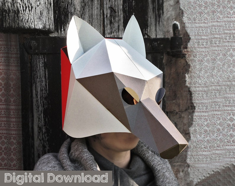Easy Wolf mask Low poly mask for a wolf costume. Diy paper image 0