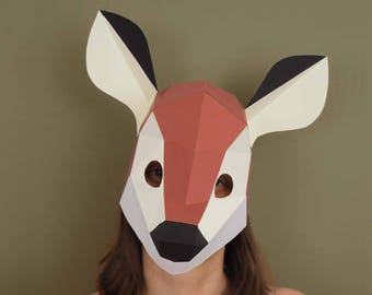 Fawn paper mask instant download, Papercraft 3d woodland animal, low poly kids mask, animal mask fawn costume, woodland creatures papercraft