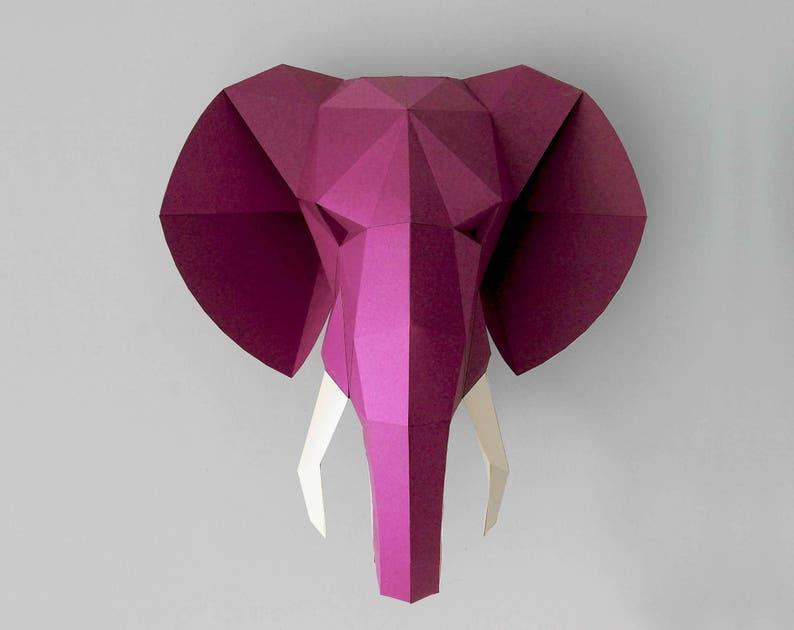 Elephant Instant download 3d origami printable trophy. image 0