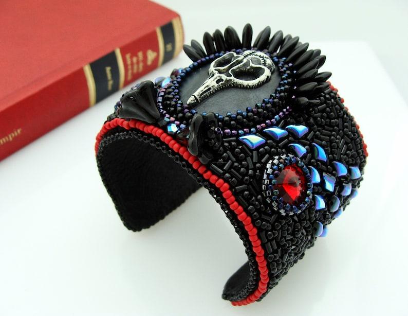 Vampire Cuff Bracelet Black Skull Cameo Bracelet Raven Skull Cuff Bracelet Bead Embroidery Cuff Bracelet