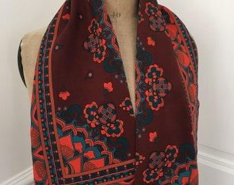 136242f68da8 Foulard soie marron orange jolis motifs, foulard automne - cadeau femme  belle mère