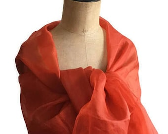 Stole orange silk organza orange coral with/without perfect pearls ceremonies, wedding, gala, evening