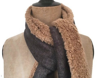 Winter scarf for men with an aviator style, light brown and blue denim style