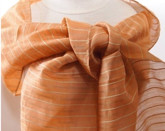Mixed silk fabric orange silk scarf shawl woman shawl ideal ceremony wedding gala outfit chic 190cm long