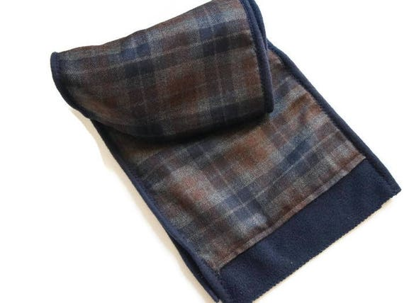 Écharpe homme en laine avec carreaux tartan et polaire bleu   Etsy eca3055813b