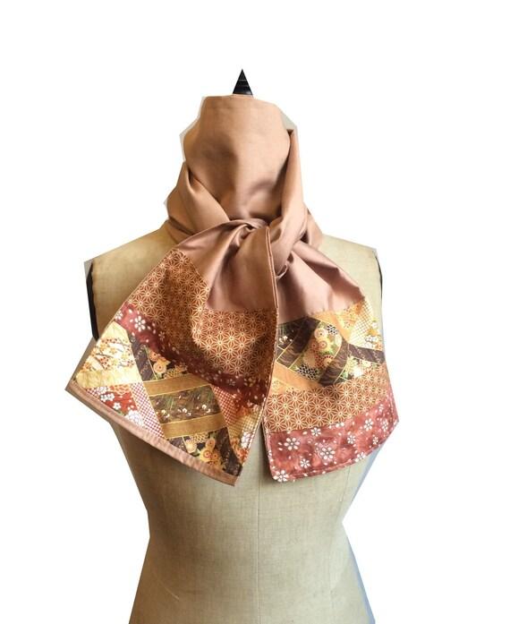 Foulard automne patchwork tissu japonais et batik foulard   Etsy 899044a0896