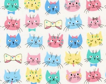 Robert Kaufman Whiskers & Tails by Sea Urchin Studios Cats Faces Multicoloured Premium Cotton