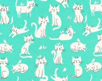 Robert Kaufman Whiskers & Tails by Sea Urchin Studios Cats Mint Premium Cotton
